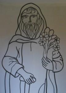 silhouette métal, ici St Fiacre, St patron des jardiniers