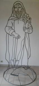 St Fiacre, sculpture métal