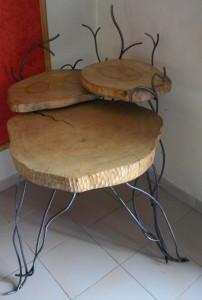 table métal et bois 3 plateaux